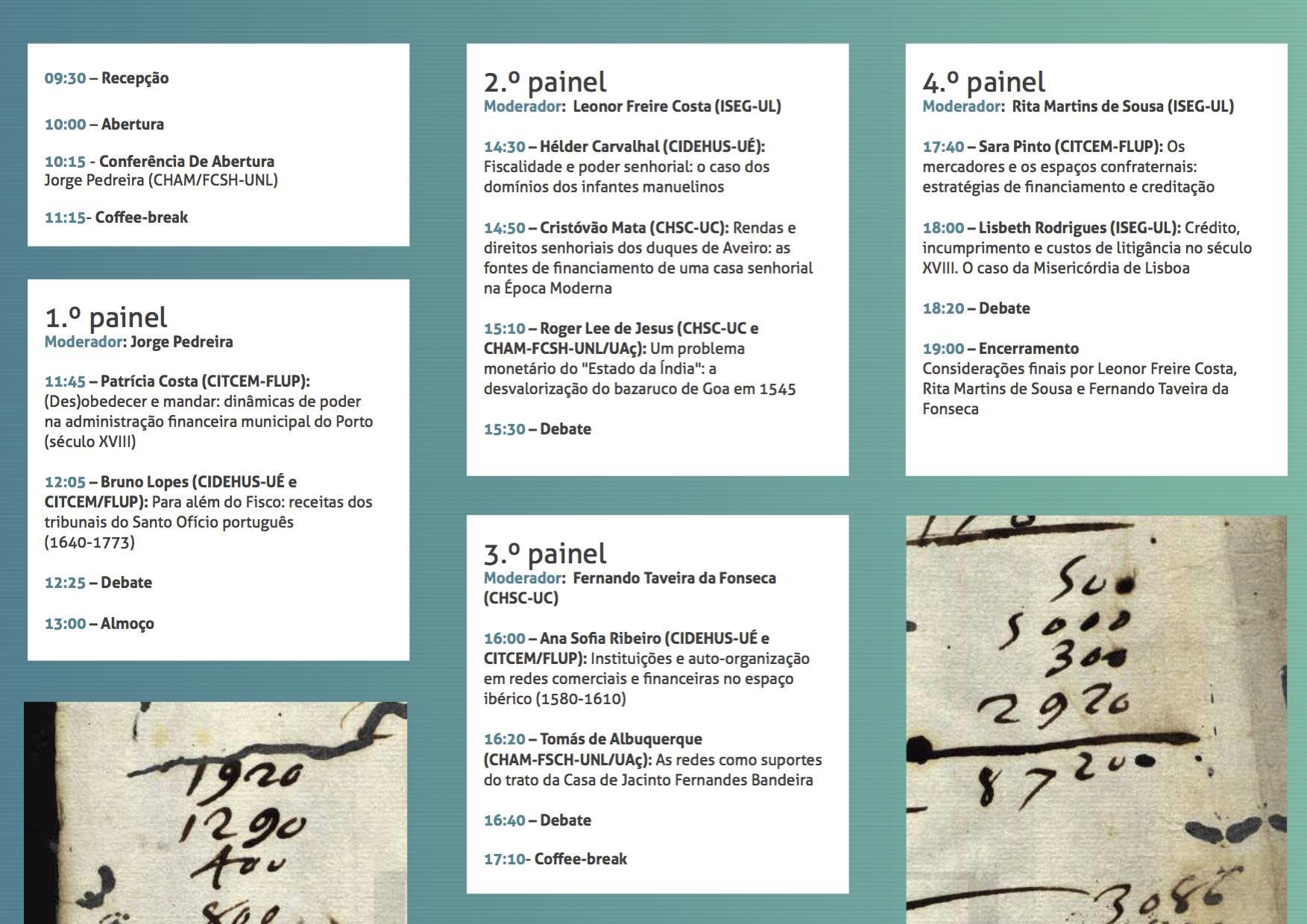 Folheto - Financas, Inst ituições, Cr2édito e Moeda em Portugal e no Império (séculos XVI-XVIII)
