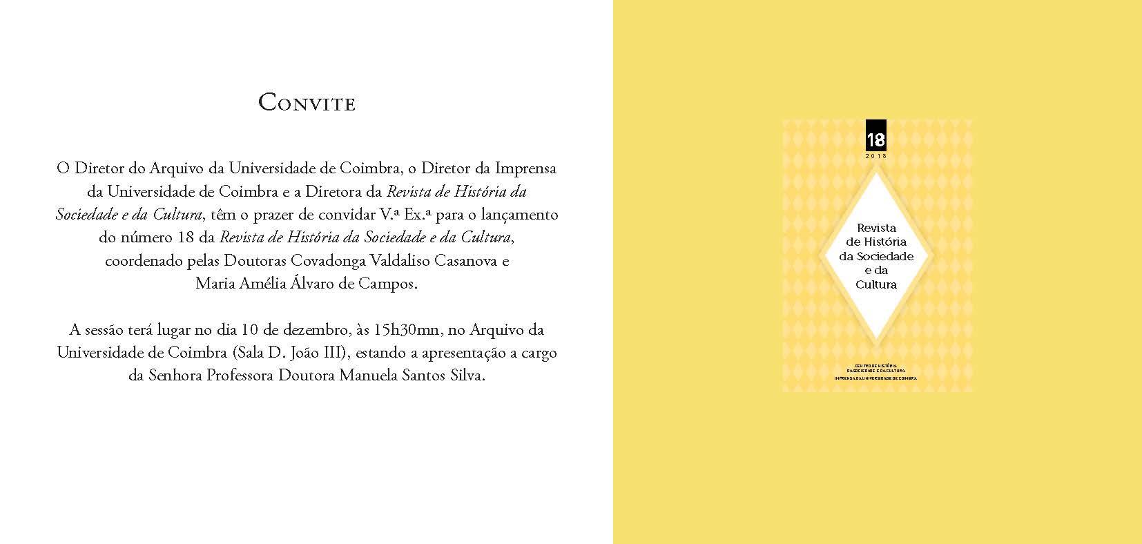 LANÇAMENTO –  REVISTA DE HISTÓRIA DA SOCIEDADE E DA CULTURA – N.º 18