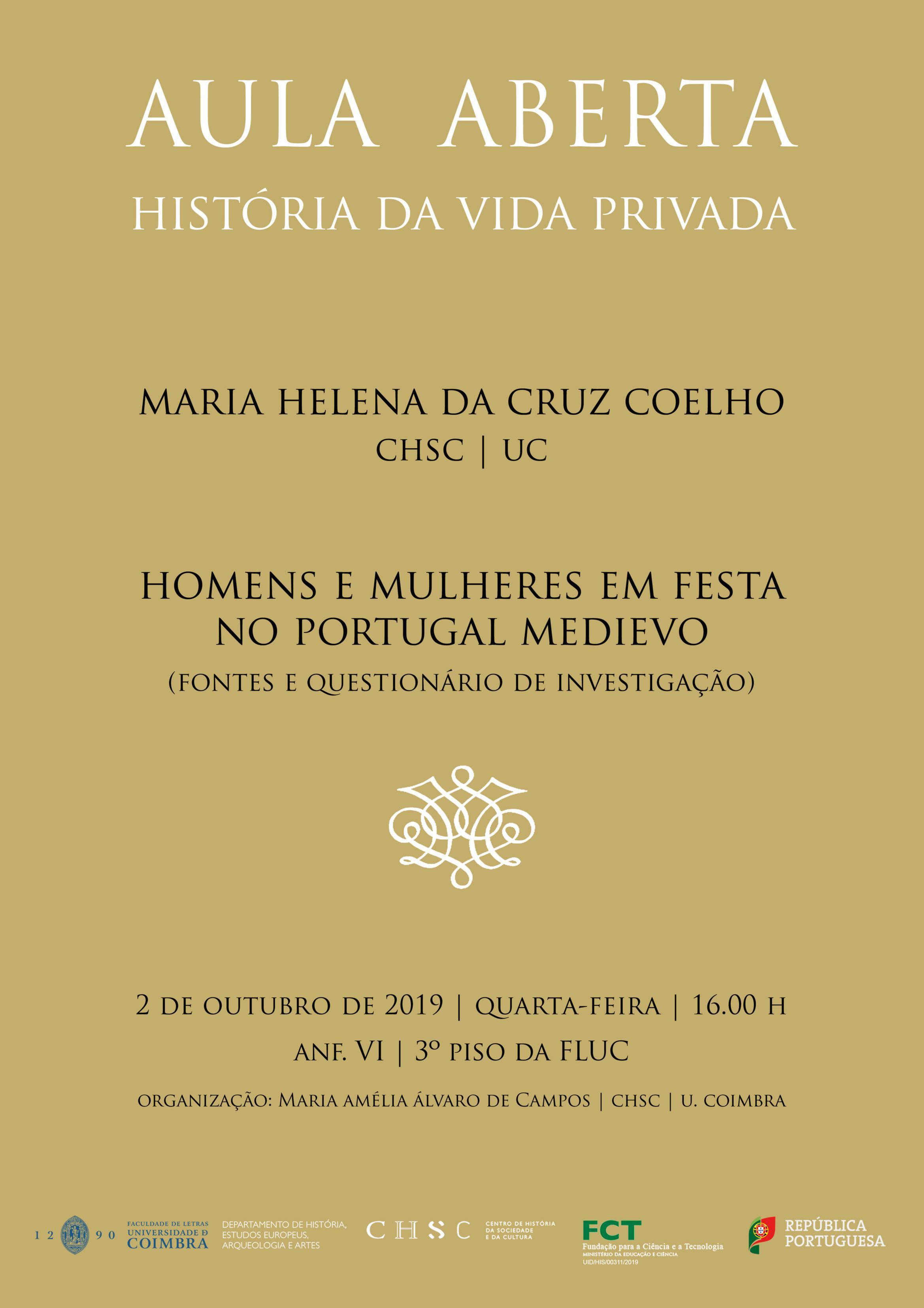 AULA ABERTA – HOMENS E MULHERES EM FESTA NO PORTUGAL MEDIEVO (FONTES E QUESTIONÁRIO DE INVESTIGAÇÃO)