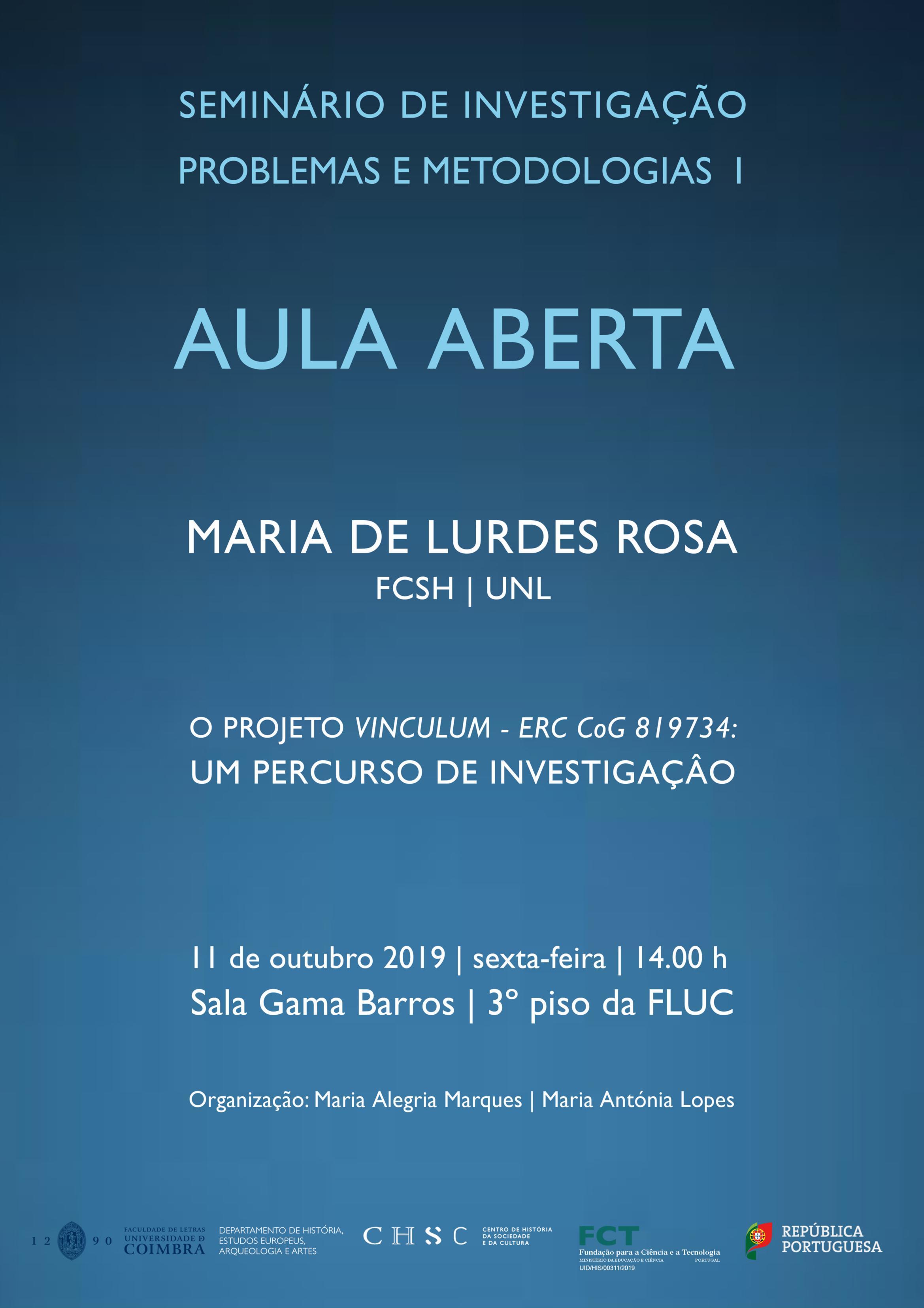 AULA ABERTA – O PROJETO VINCULUM – ERC CoG819734 – UM PERCURSO DE INVESTIGAÇÃO